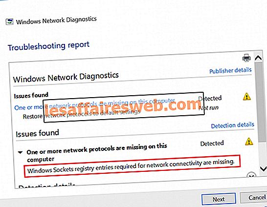 네트워크 연결에 필요한 Windows 소켓 레지스트리 항목이 누락되었습니다