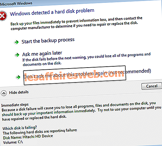 Windowsがハードディスクの問題を検出しました
