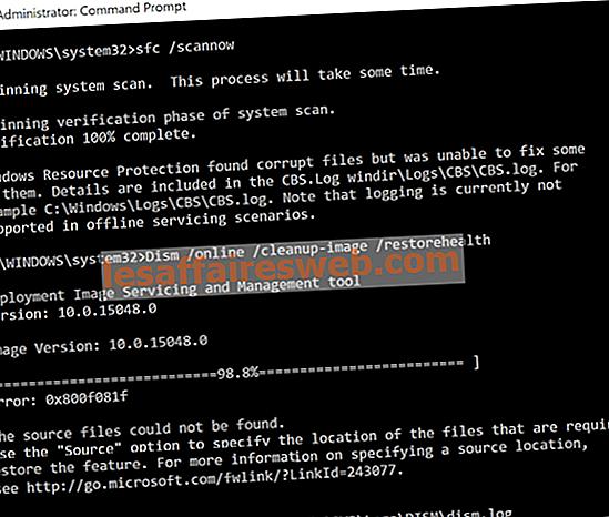 Correction de l'erreur DISM 0x800f081f dans Windows 10
