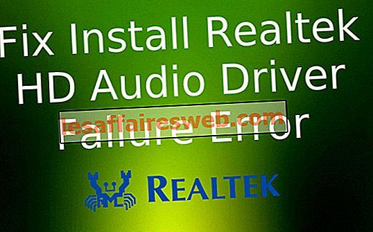 Perbaiki Instal Kesalahan Realtek HD Audio Driver Kegagalan