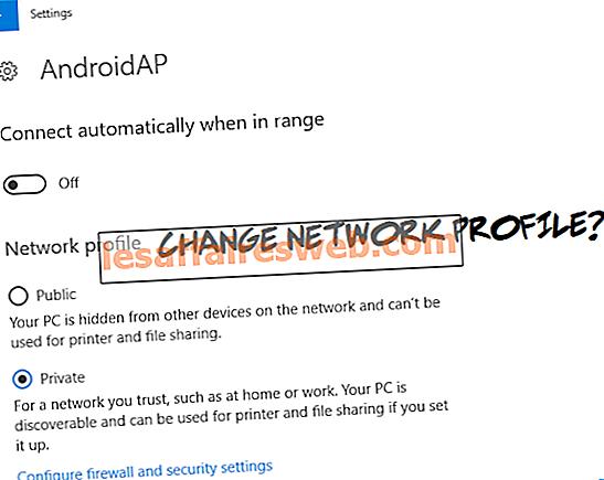 Ubah dari Publik ke Jaringan Pribadi di Windows 10