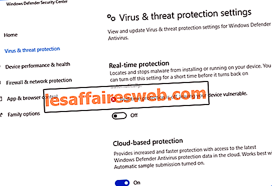 Nonaktifkan Windows Defender secara permanen di Windows 10