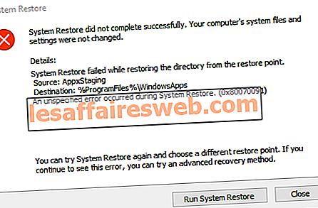 Correction de l'erreur de restauration du système 0x80070091