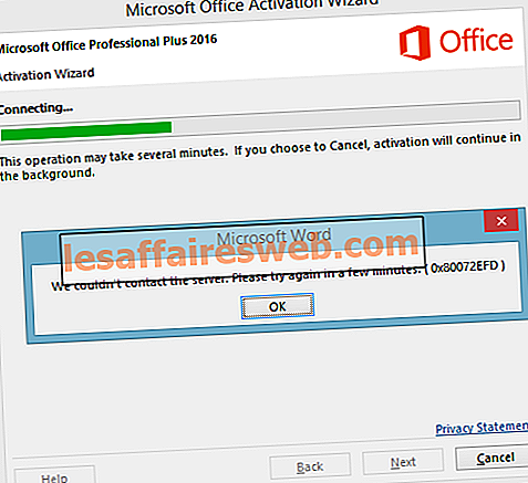 Perbaiki kesalahan aktivasi Office 365 Kami tidak dapat menghubungi server