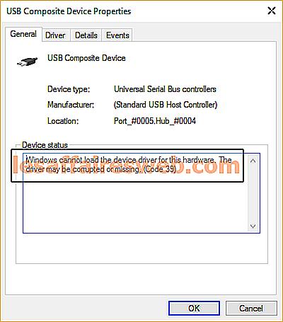 Perbaiki USB Tidak Bekerja Kode Kesalahan 39