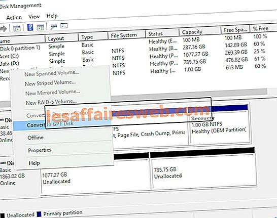 Converti MBR in disco GPT senza perdita di dati in Windows 10