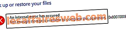 Perbaiki Kesalahan 0x8007000e Mencegah Cadangan