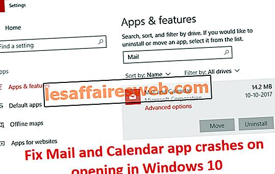 Correggi gli arresti anomali dell'app Mail e Calendar all'apertura in Windows 10