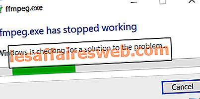 Perbaiki ffmpeg.exe telah berhenti berfungsi kesalahan