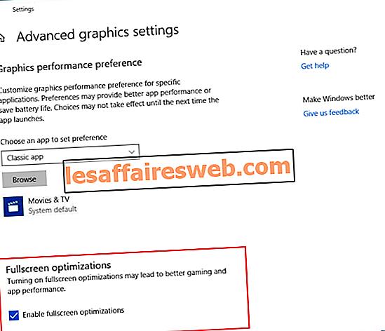 Comment désactiver les optimisations plein écran dans Windows 10