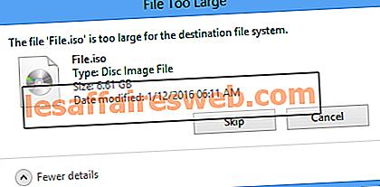 Le fichier est trop volumineux pour le système de fichiers de destination