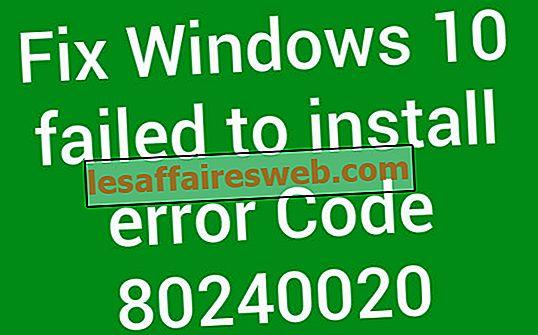 Betulkan Windows 10 gagal memasang Kod ralat 80240020