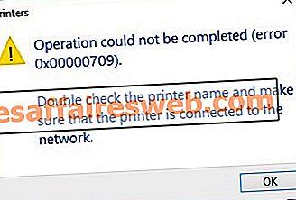 기본 프린터 오류 0x00000709를 설정할 수없는 문제 수정