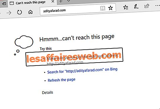 Hmm, non possiamo raggiungere questo errore di pagina in Microsoft Edge
