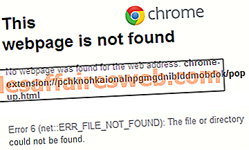 Correzione dell'errore 6 di Google Chrome (net :: ERR_FILE_NOT_FOUND)