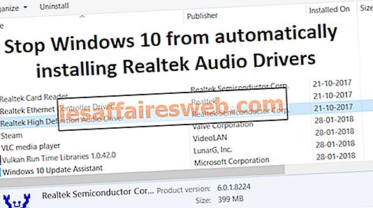 Остановить Windows 10 от автоматической установки Realtek Audio Drivers