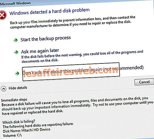 Windows mendeteksi masalah pada harddisk