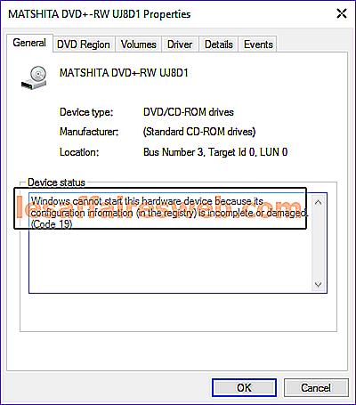 Beheben Sie den DVD / CD-ROM-Fehlercode 19 unter Windows 10
