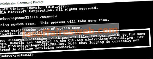 Windowsリソース保護は破損したファイルを検出しましたが、それらのいくつかを修正できませんでした