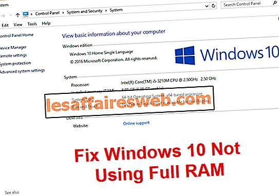 Perbaiki Windows 10 tidak menggunakan RAM penuh