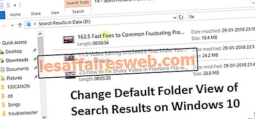 Ändra standardmappsvy över sökresultat i Windows 10
