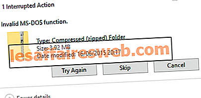 Windows 10での無効なMS-DOS関数エラー