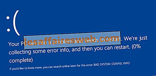 Behebung des BAD_SYSTEM_CONFIG_INFO-Fehlers