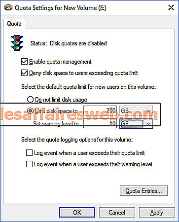 Come impostare il limite di quota disco e il livello di avviso in Windows 10