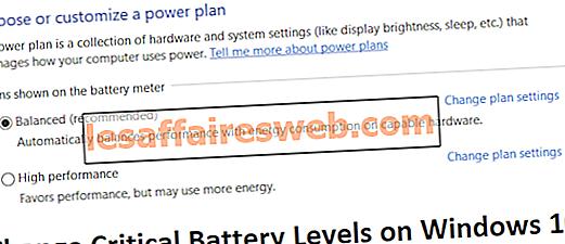 Ubah Level Baterai Penting pada Windows 10