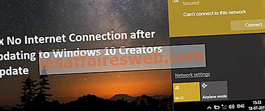 Risolto il problema con Nessuna connessione Internet dopo l'aggiornamento a Windows 10 Creators Update