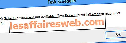 Fixer le service Planificateur de tâches n'est pas une erreur disponible
