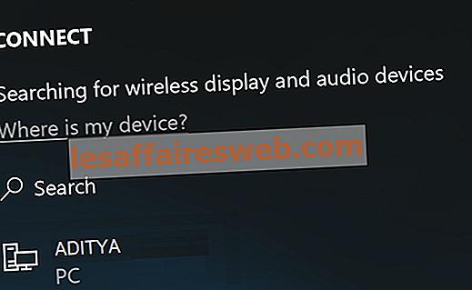 Windows 10でMiracastを使用してワイヤレスディスプレイに接続する