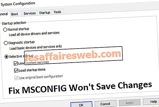 Perbaiki MSCONFIG Tidak akan Menyimpan Perubahan di Windows 10