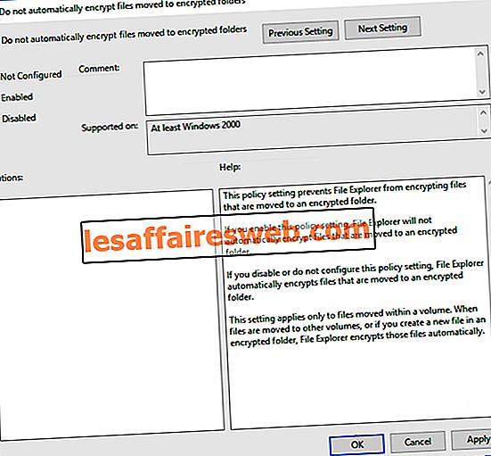 Kryptera inte automatiskt filer som flyttats till krypterade mappar i Windows 10