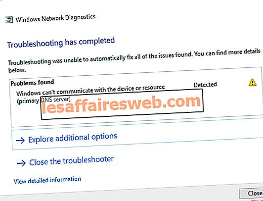 Betulkan Windows tidak boleh berkomunikasi dengan peranti atau sumber
