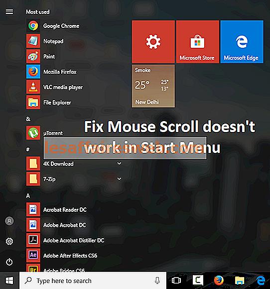 Исправить, прокрутка мыши не работает в меню «Пуск» в Windows 10
