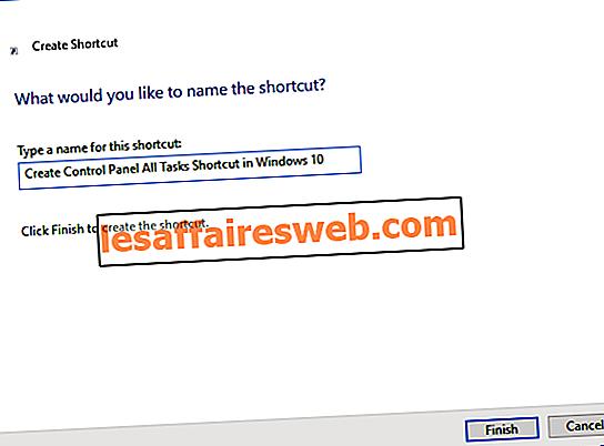 Skapa Kontrollpanelen Alla uppgifter Genväg i Windows 10