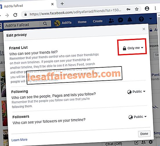 Nascondi la tua lista di amici di Facebook da tutti