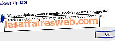 Fix Windows Update ne peut pas actuellement vérifier les mises à jour