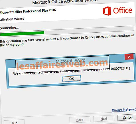 Correction d'une erreur d'activation d'Office 365 Nous n'avons pas pu contacter le serveur
