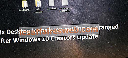 Fixa skrivbordsikoner ordnas om efter Windows Update Creators Update