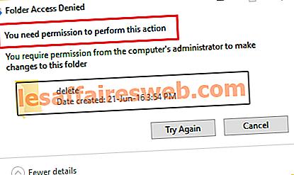Fixez-vous besoin d'une autorisation pour effectuer cette erreur d'action
