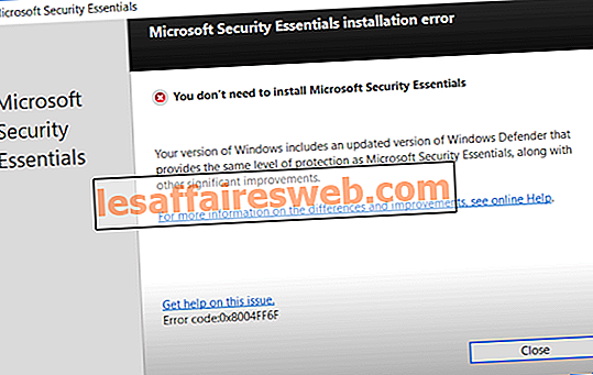 Deinstallieren Sie Microsoft Security Essentials in Windows 10