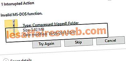 Недопустимая ошибка функции MS-DOS в Windows 10