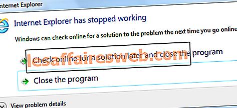Fix Internet Explorer har slutat fungera