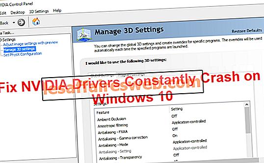 Perbaiki Driver NVIDIA Terus-menerus Hancur pada Windows 10