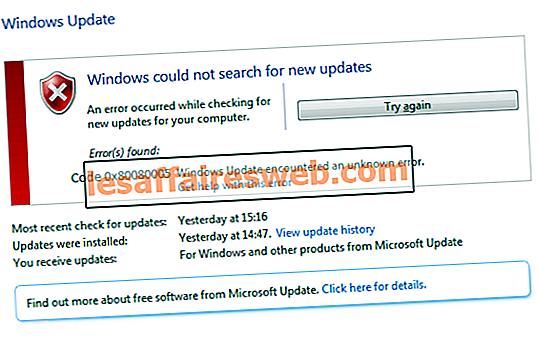 Beheben Sie den Windows Update-Fehler 0x80080005