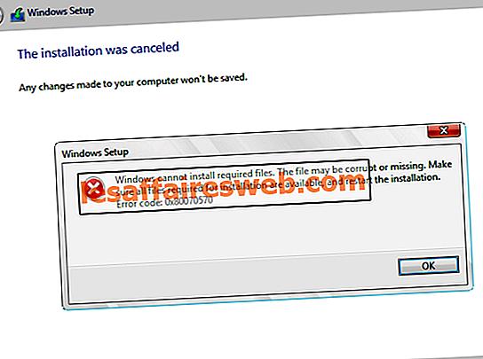 Fix Windows ne peut pas installer les fichiers requis 0x80070570