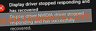 디스플레이 드라이버가 응답을 멈추고 오류를 복구했습니다