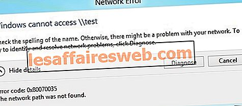 Correzione Codice errore 0x80070035 Il percorso di rete non è stato trovato